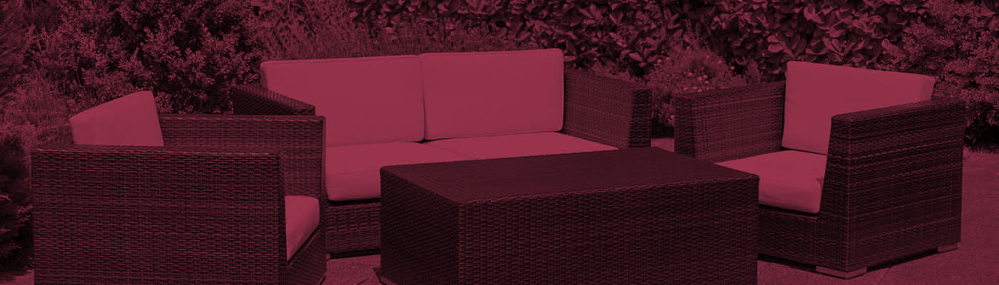 Outdoor garden furniture lounge group on terrace